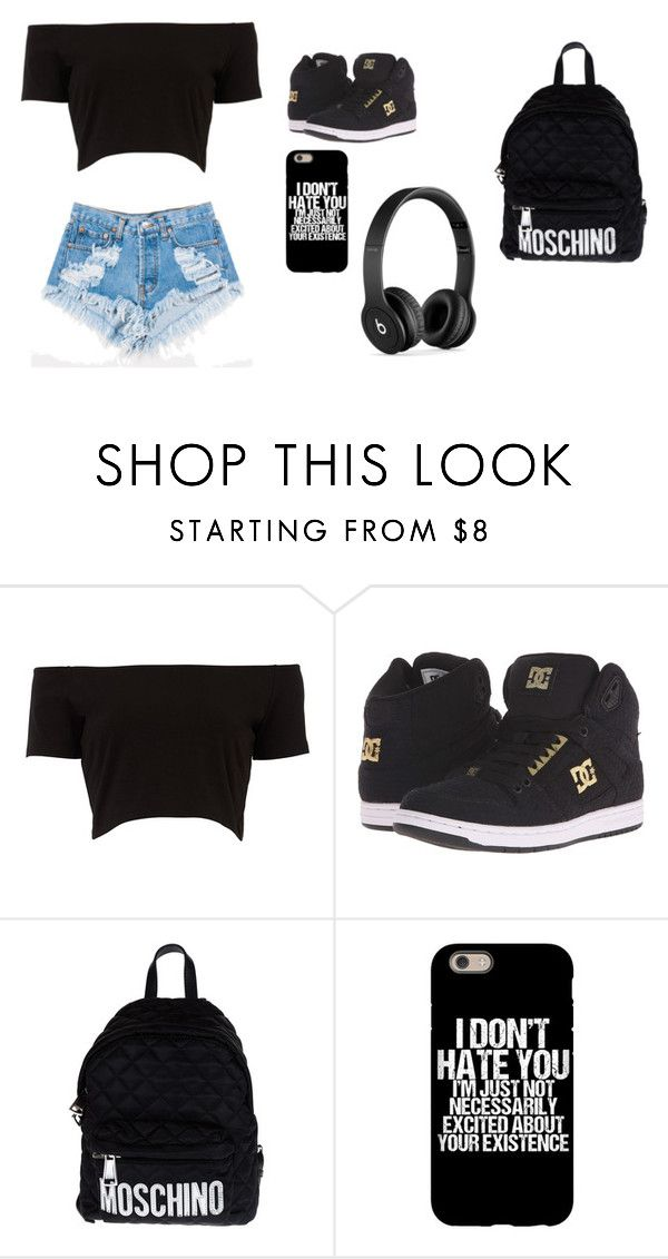 """cool outfit for school"" by angie-1669 ❤ liked on Polyvore featuring Levi's, DC Shoes, Moschino and Beats by Dr. Dre"
