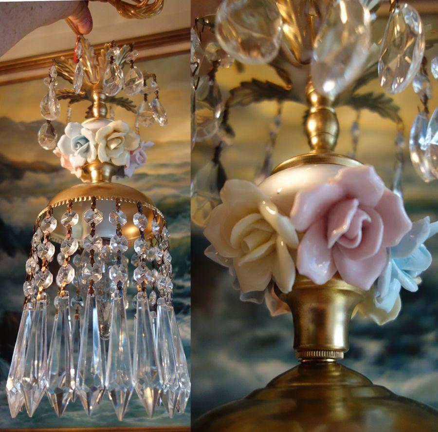 1O7 Porcelain Mini Barbola Rose Brass Chandelier Swag Vintage Lamp Crystal Prism | eBay