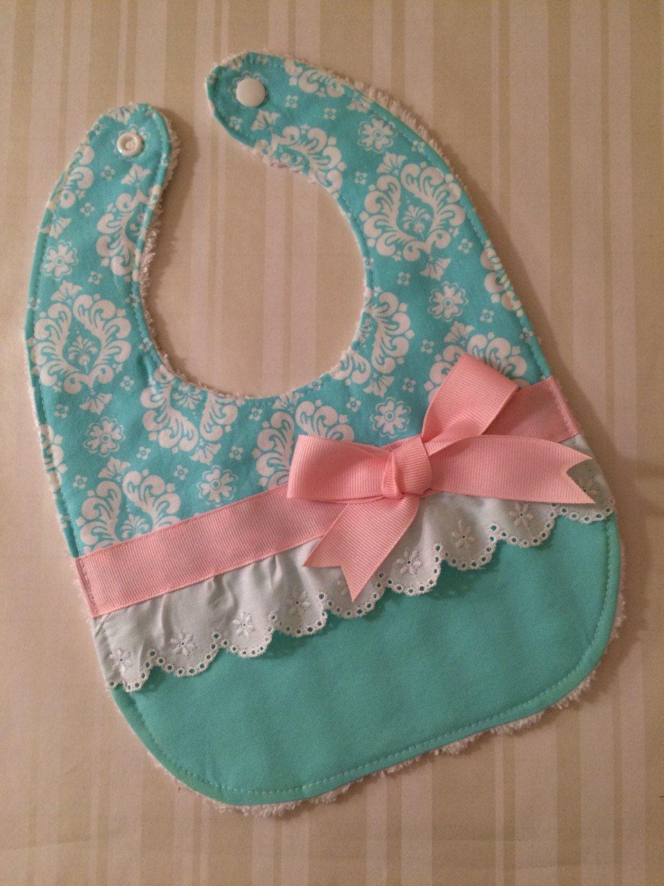 Cute Girl Bib - Aqua, Pink & White Eyelet with Bow - Spring Baby Bib ...