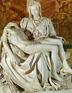 미켈란젤로, 피에타 / 축 늘어진 예수의 몸과 이를 지켜보는 마리아의 엄숙함이 잘 나타나있다. 사랑하는 이, 존경하는 이를 잃을 때의 그 슬픔과 두려움이 절제되어 더 생생히 드러나는 것 같다.