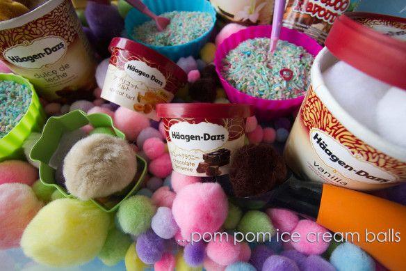 Ice cream shop sensory bin....cute for dramatic play too:)