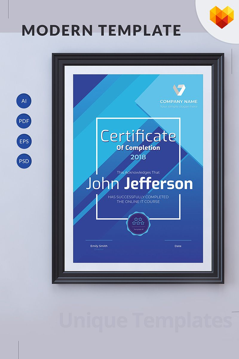 Certificate Of Completion Online Course Certificate Template Logo