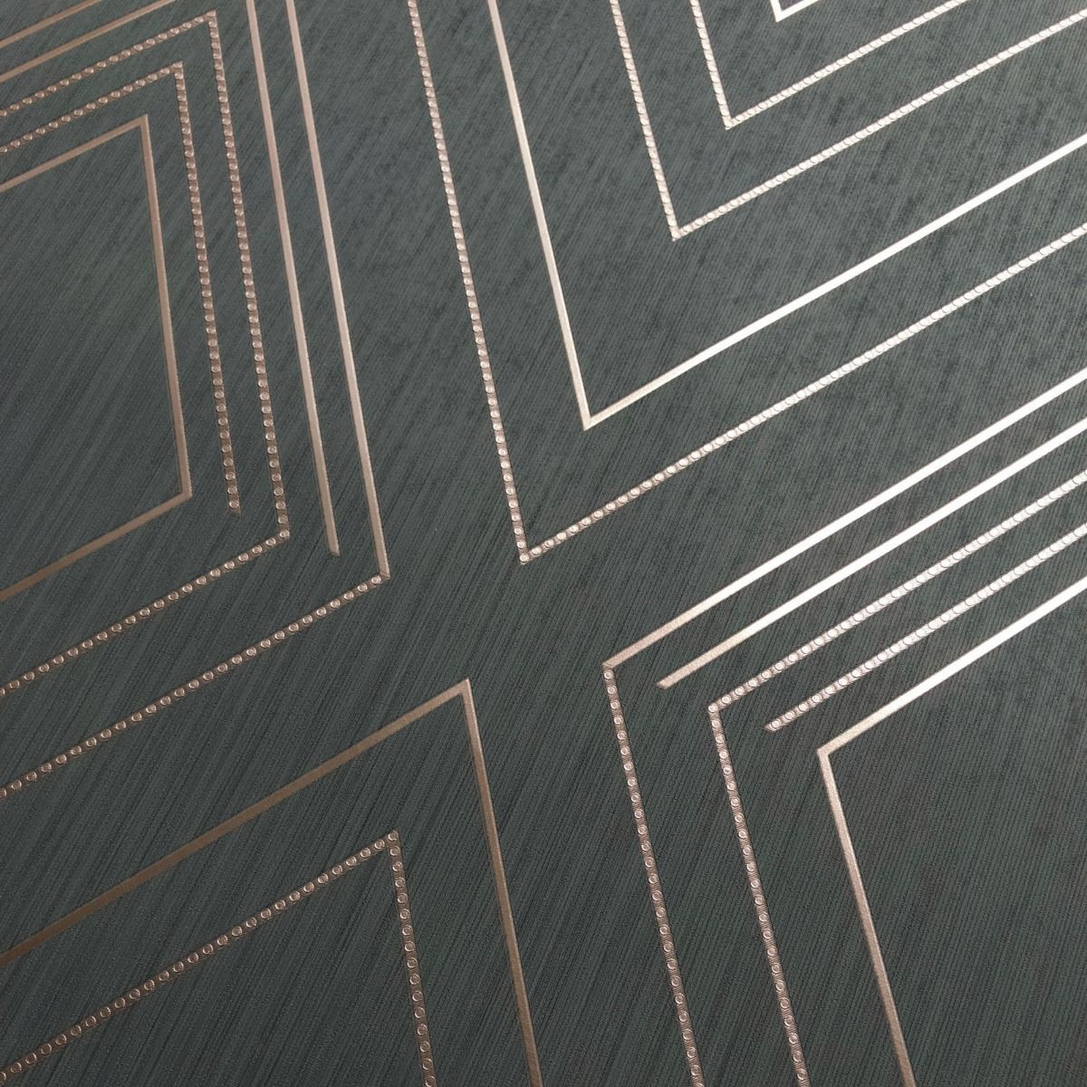 Alea Geometric Wallpaper Charcoal / Rose Gold Muriva