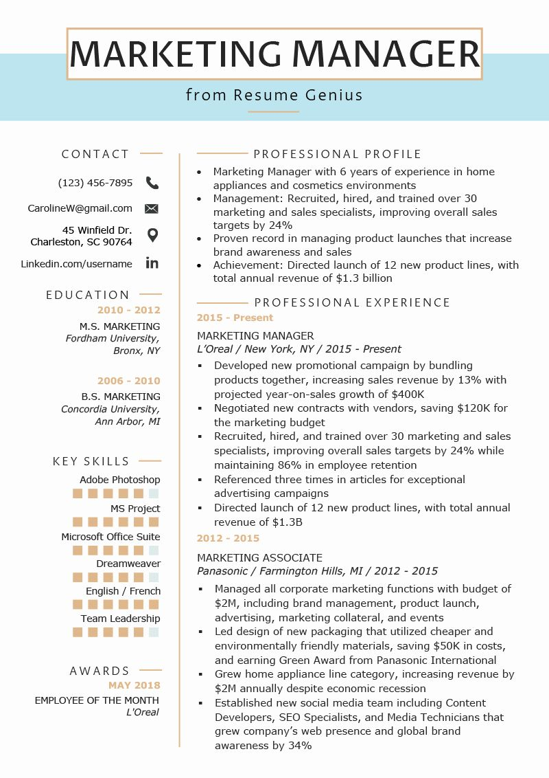 Director Of Marketing Resume Unique Marketing Manager Resume Example Writing Tips Office Assistant Resume Resume Skills Resume Writing Tips