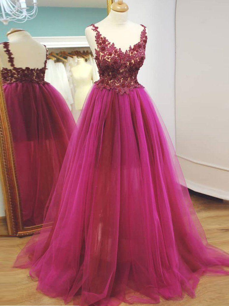 chic aline v neck prom dresses fuchsia prom dress evening