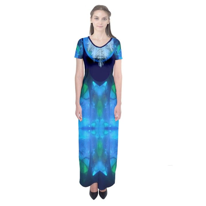 sliding blues by saprillika Short Sleeve Maxi Dress