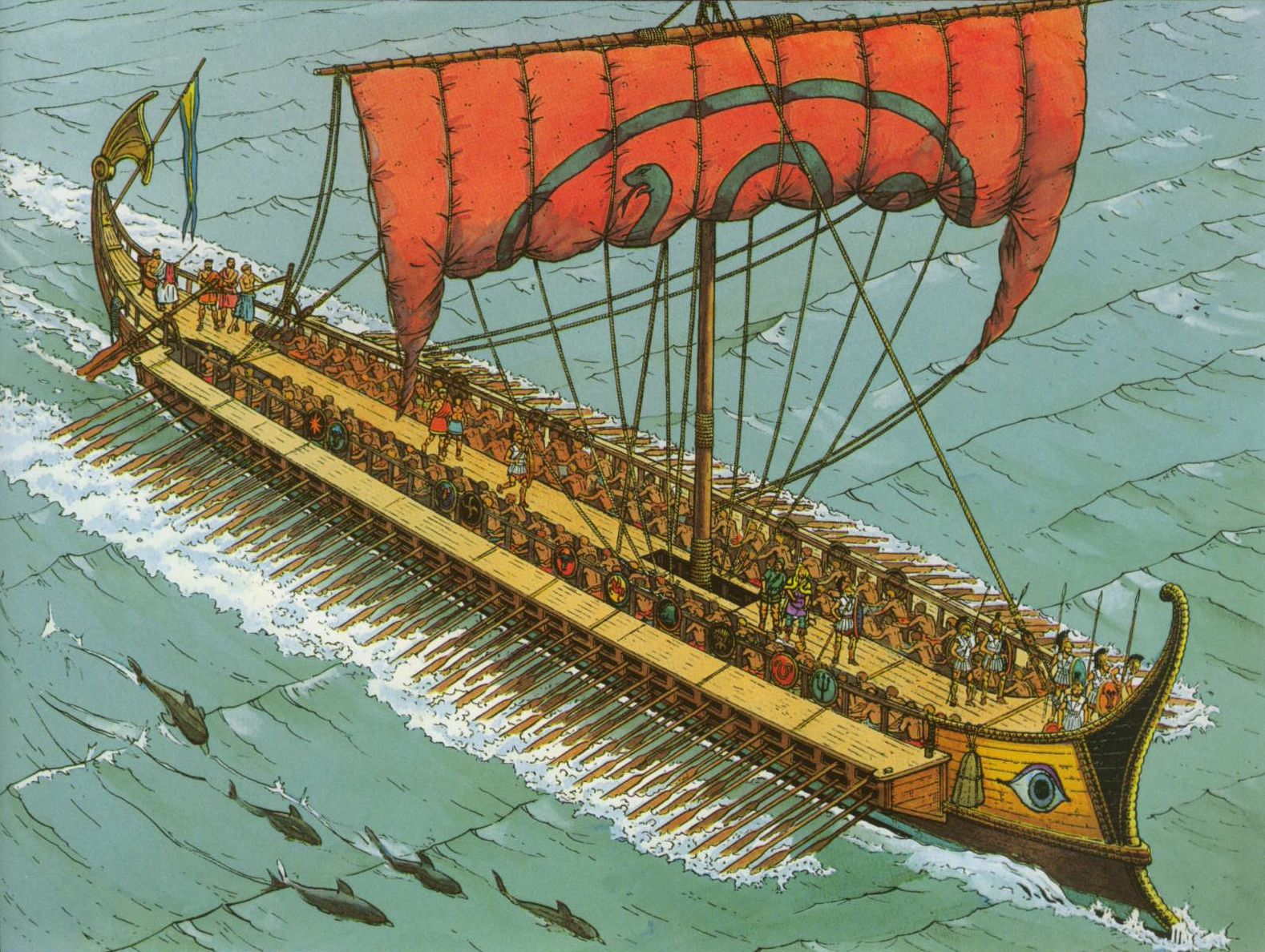 an Athenian trireme ~ Marc Henniquiau ~ I especially like ...