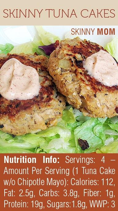 LOVING this recipe for Skinny Tuna Cakes! So light but filling at 112 calories per serving! PIN NOW, read later! Without bread crumbs