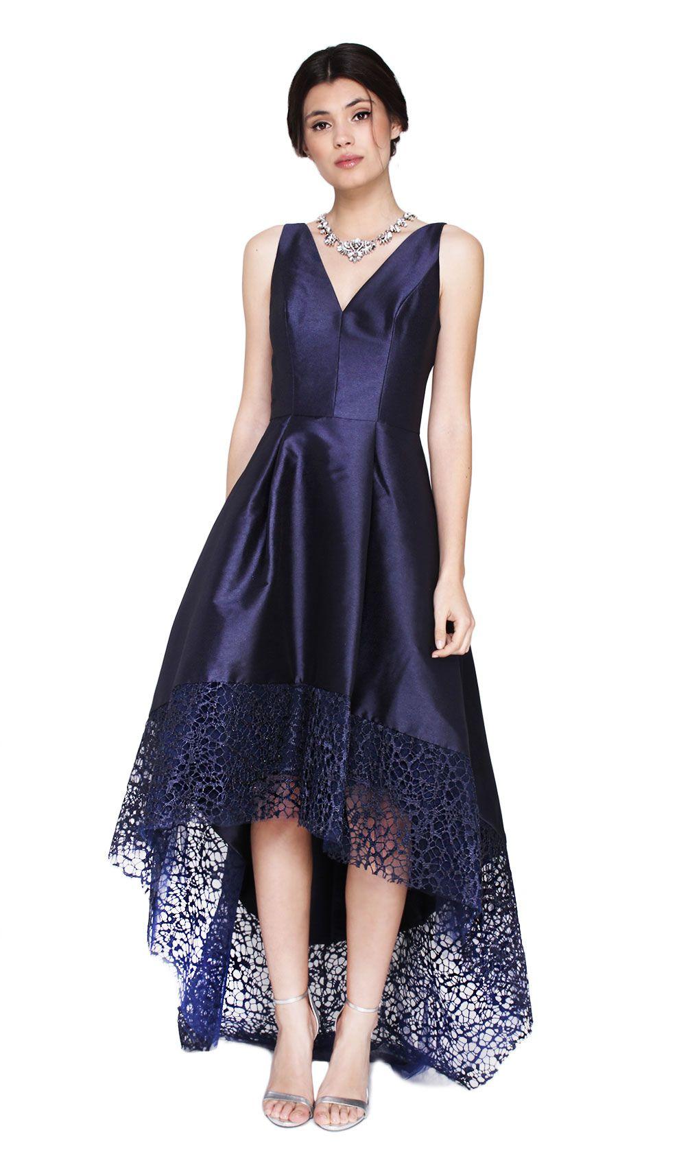 ML Monique Lhuillier Hi Lo Lace Hem V Neck Dress   Designer Dress ...