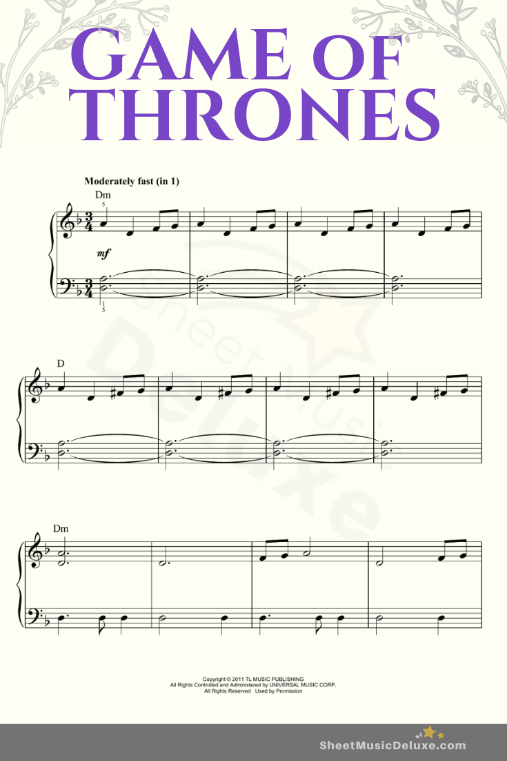 Game Of Thrones Titelmusik Klaviernoten game of thrones - ramin djawadi | easy piano sheet music