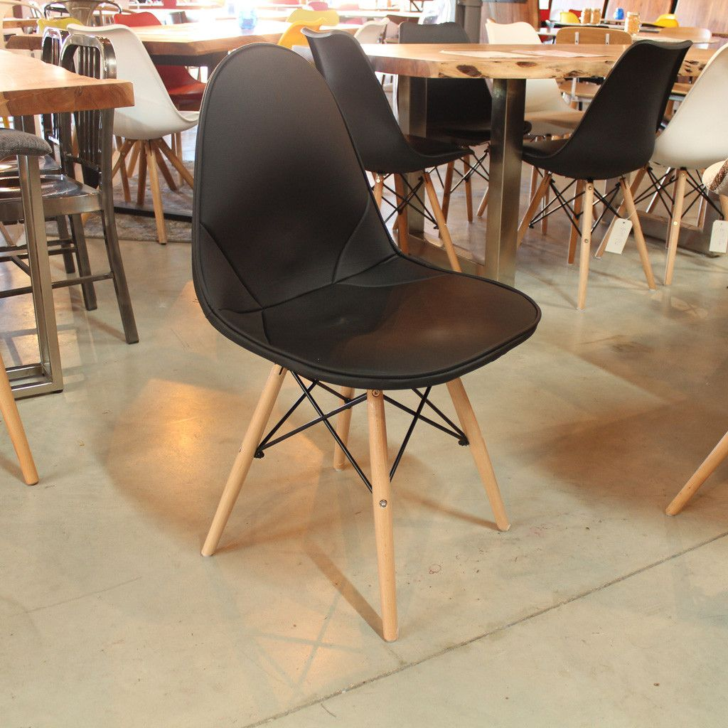 Eames Style DKW Leather Side Wire Chair with Eiffel Legs