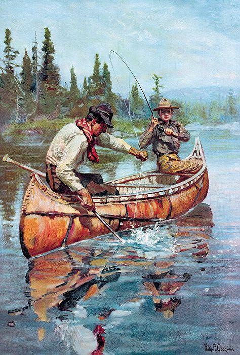Two Fishermen In Canoe Art Print By Phillip R Goodwin