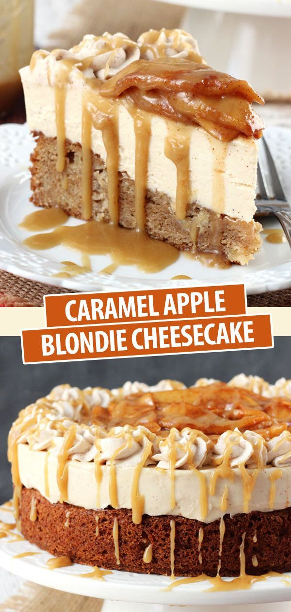 Caramel Apple Blondie Cheesecake | Best Apple Cake Recipe Ever