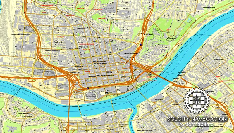 Cincinnati Ohio US printable vector street City Plan map full