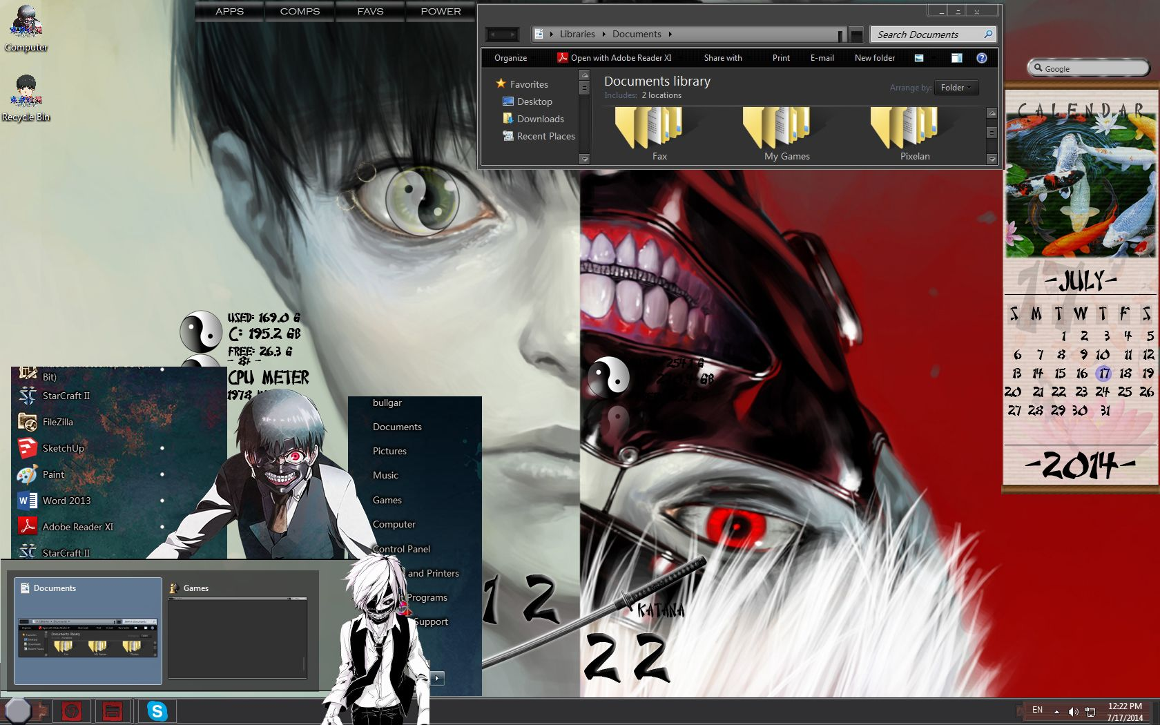 Tokyo Ghoul Custom Windows 7 theme Requirements