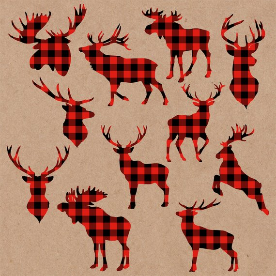 Deer head plaid. Svg clipart moose