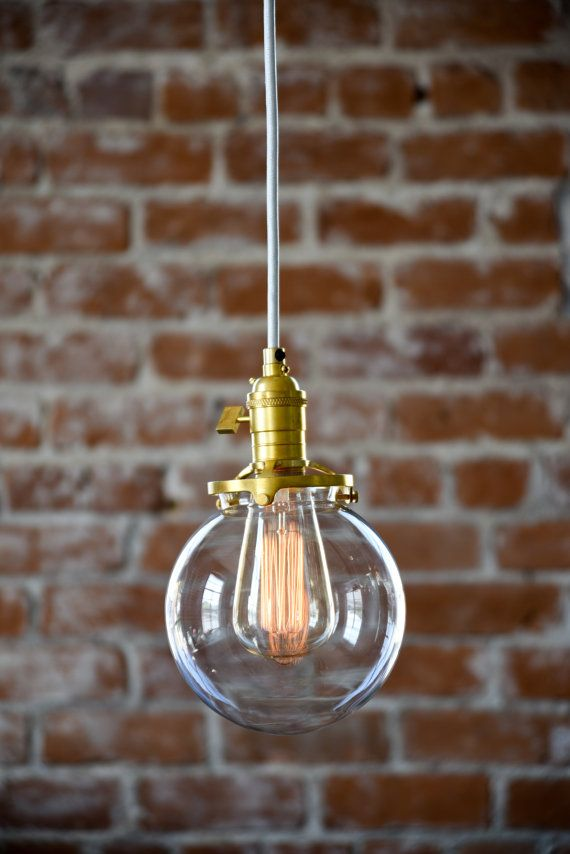 globe pendant light raw brass mid century modern industrial clear glass globe cloth. Black Bedroom Furniture Sets. Home Design Ideas