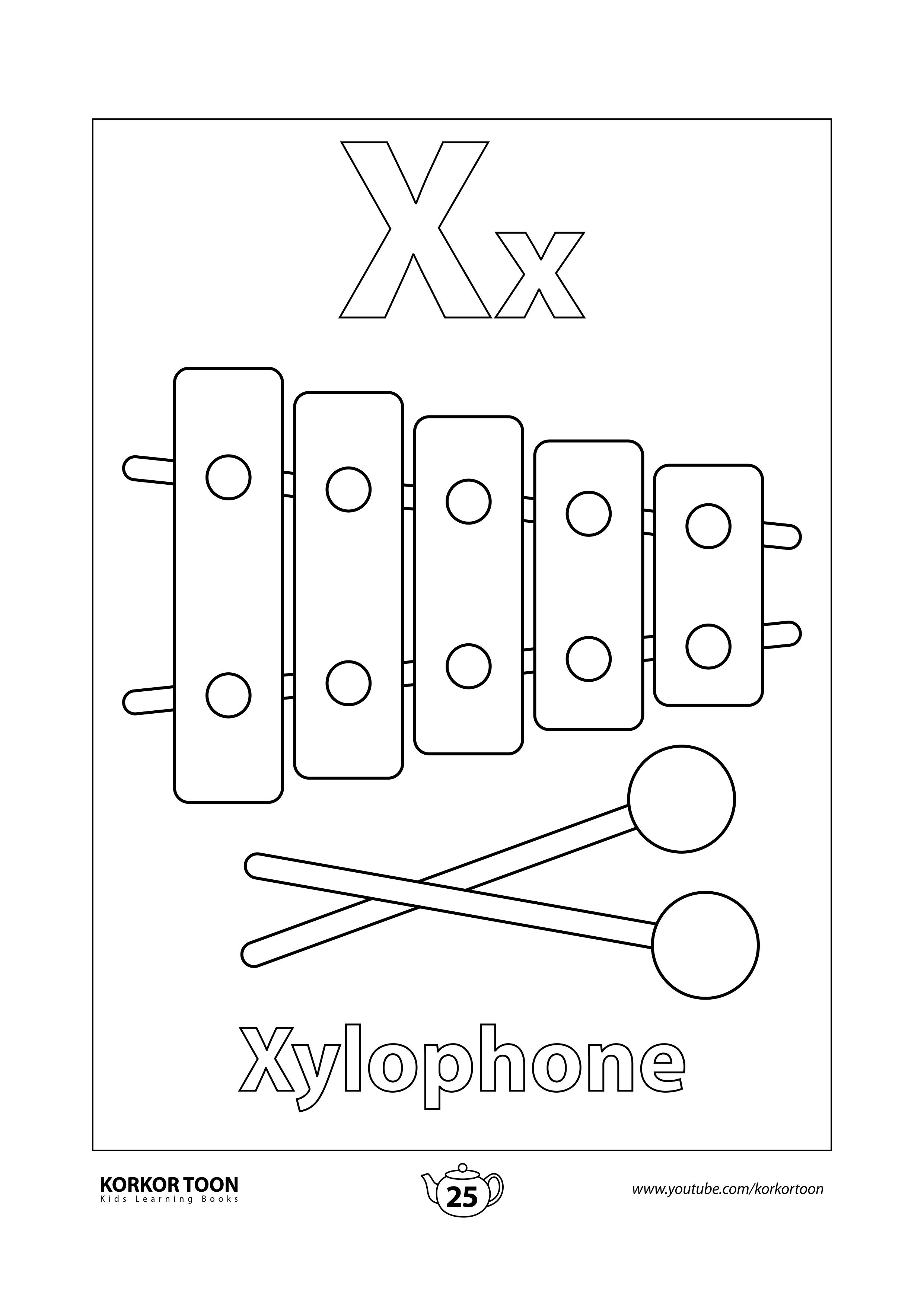 Xylophone Coloring Page Abc Coloring Book Coloring Books Abc Coloring Printables Free Kids