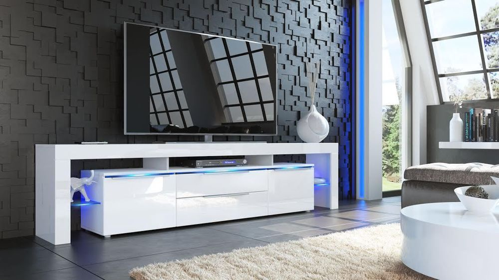 new white high gloss tv stand media entertainment centre. Black Bedroom Furniture Sets. Home Design Ideas