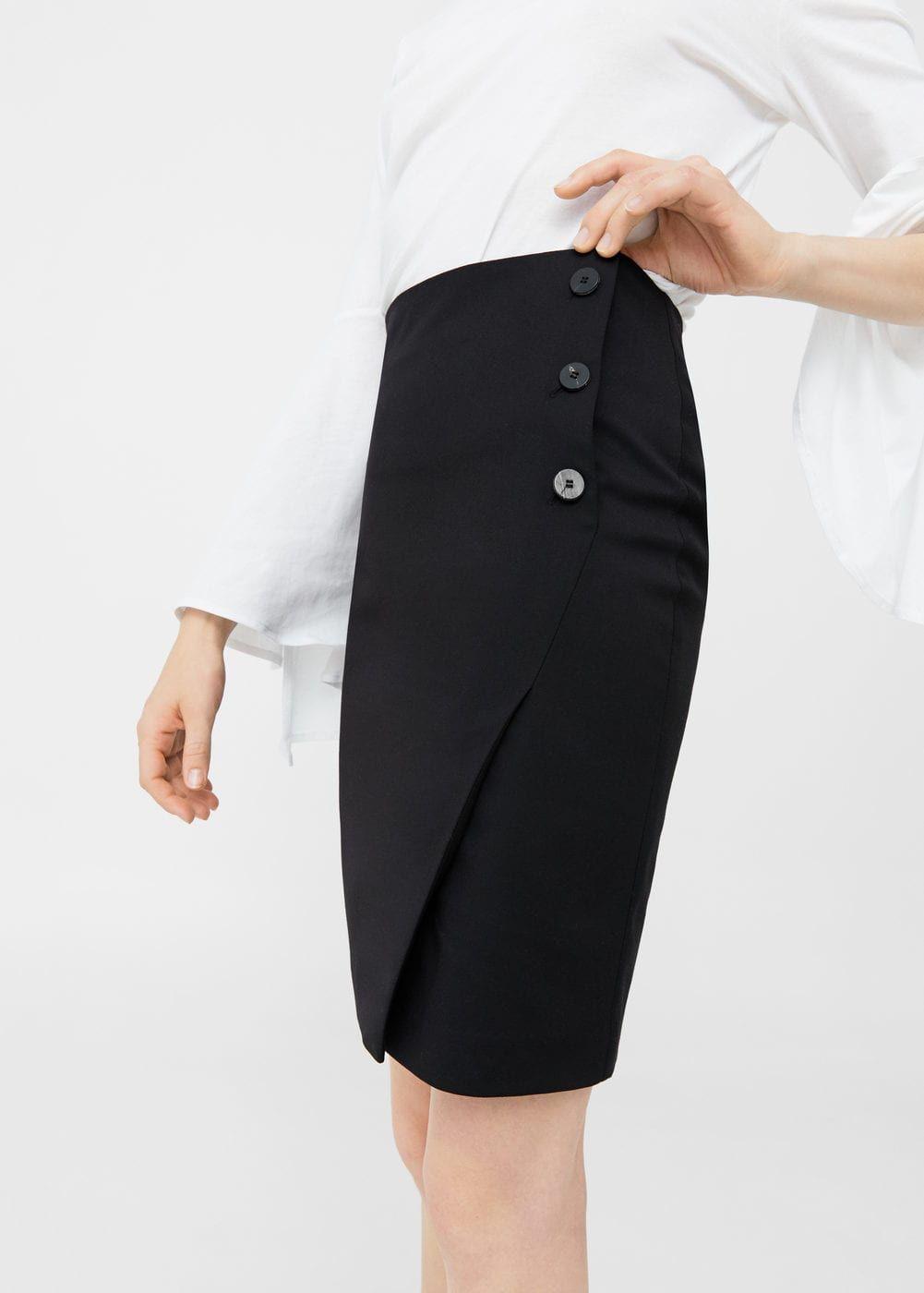 Falda midi botones - Faldas de Mujer  1035b6e016ee