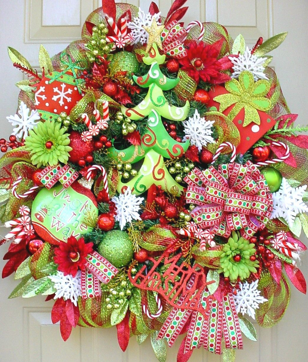 O Christmas Tree-Christmas Holiday Wreath In Lime Greens