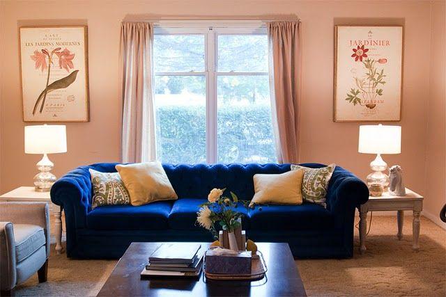 My Blue Velvet Chesterfield Sofa And Botanical Prints Blue Living Room Living Room Inspiration Living Room Setup