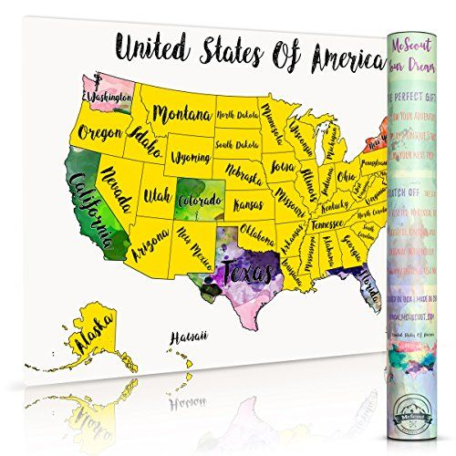 Scratch Off Map USA Travel Watercolor By McScout Maps Mar... https ...
