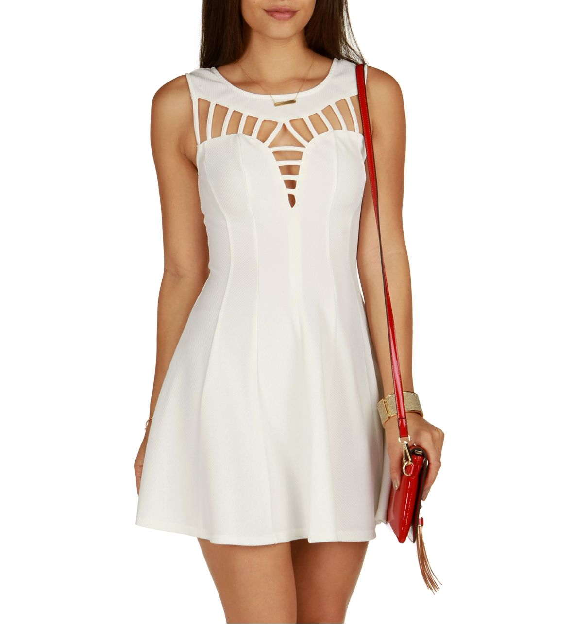 White Flare Out Skater Dress