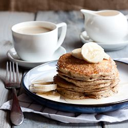 Healthier buttermilk pancakes made with whole wheat flour and flax. #foodgawker