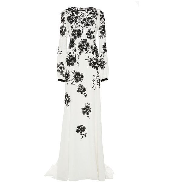 Oscar de la Renta Embroidered Silk Long Sleeve Gown (406,800 DOP) ❤ liked on Polyvore featuring dresses, gowns, white silk gown, long sleeve evening gowns, sheath dress, white evening dresses and oscar de la renta gowns