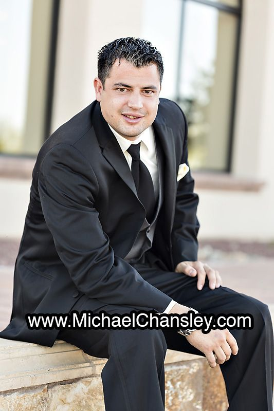 Groom Poses For A Formal Portrait At Corpus Christi Catholic Church In Tucson AZ Arizona By