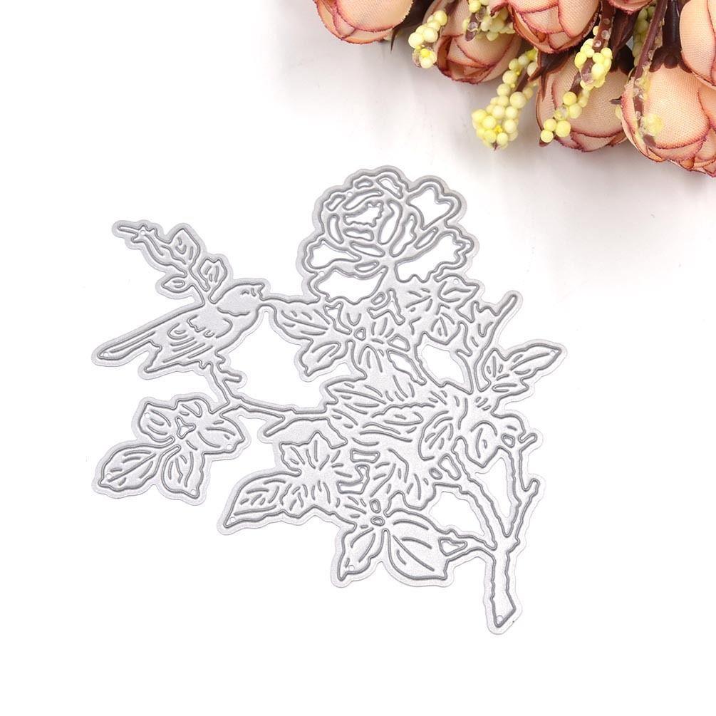 1 Pcs Metal Bird Flower Cutting Dies Stencil Template Diy Scrapbook