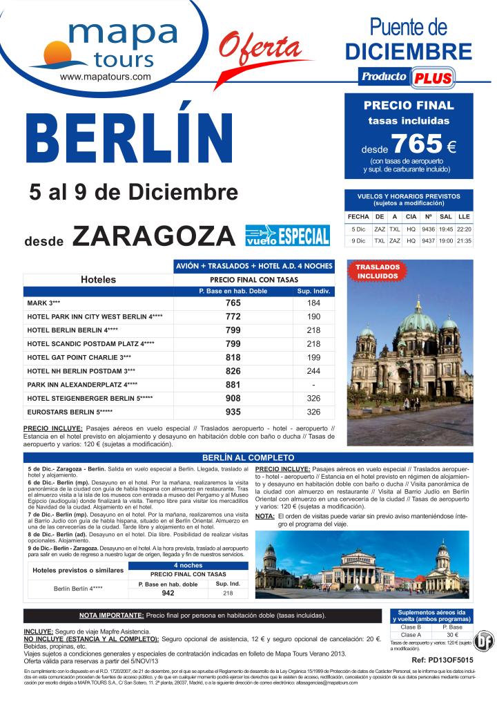 Berlín Puente de Diciembre salida Zaragoza 5 Dic. **Precio Final desde 765** - http://zocotours.com/berlin-puente-de-diciembre-salida-zaragoza-5-dic-precio-final-desde-765/