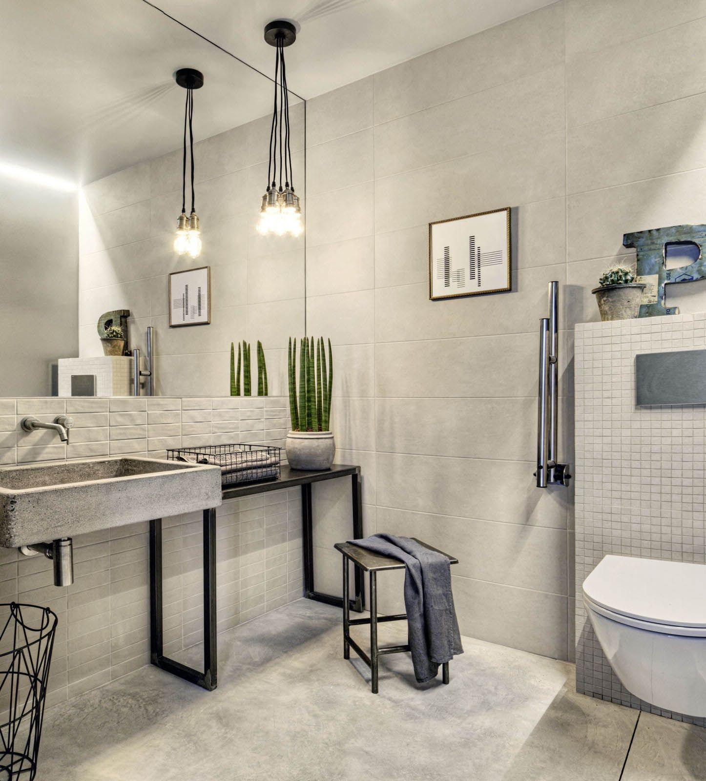 The Different Tiles And Their Shades Of Colour Blend So Well To Help Create A Smoo Industrial Style Bathroom Bathroom Design Inspiration Bathroom Design Luxury