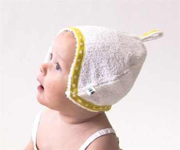 Bath bonnet in grass, great for boys or girls or little unborn unknowns