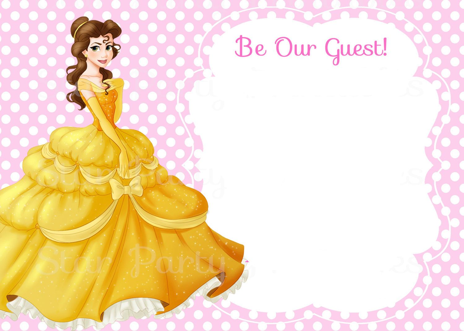 Awesome Free Template Free Printable Belle Beauty And The Beast Invitation Template