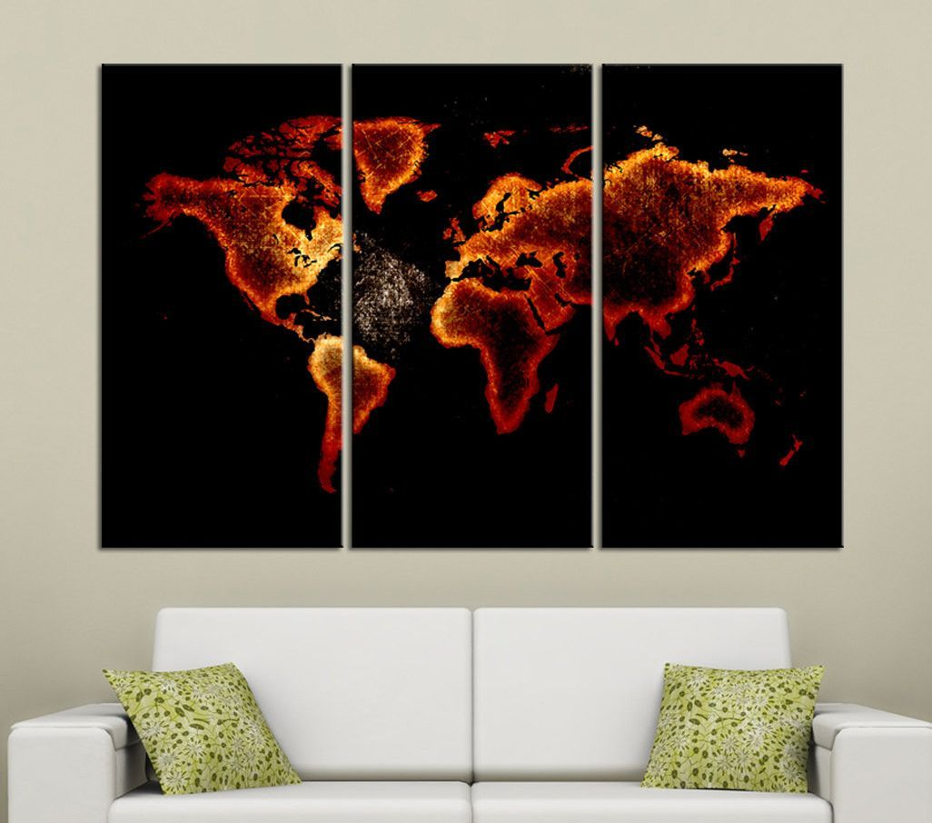 Fire red color canvas print 3 panel world map 3 piece atlas canvas fire red color canvas print 3 panel world map 3 piece atlas canvas art print ready gumiabroncs Images
