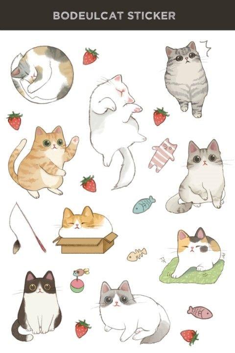 보들캣 고양이 스티커 네이버 블로그 귀여운 고양이 그리기 고양이 스티커 고양이 그림