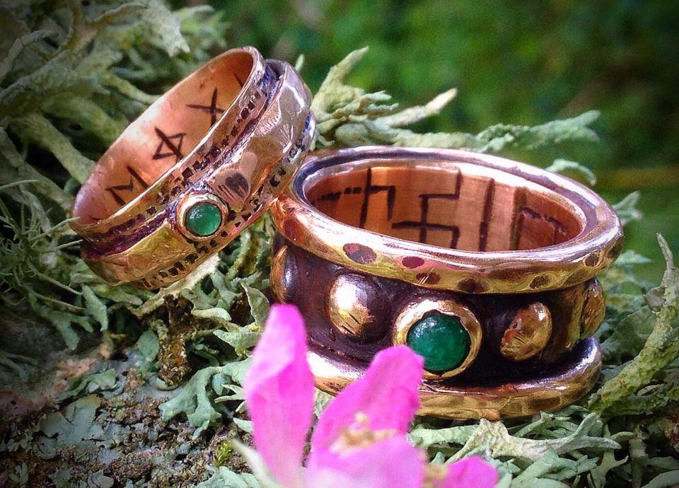 Viking Wedding/Handfasting rings... Rose Gold and Emeralds