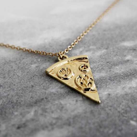 Pizza Slice 18K Gold Necklace -Pizza Necklace, Friendship Gift, Food Necklace, Gift, 18K Gold Necklace Pizza, Toppings, Thin Chain