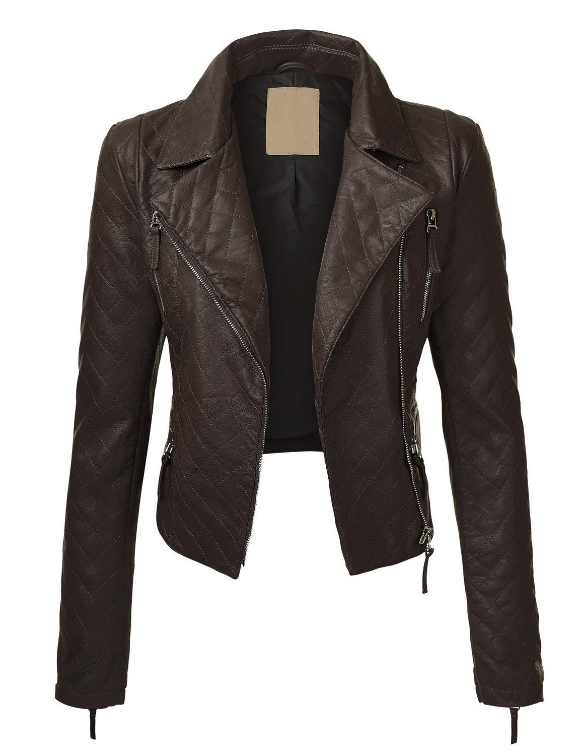 LL Womens Quilted Vegan Leather Moto Jacket at Amazon