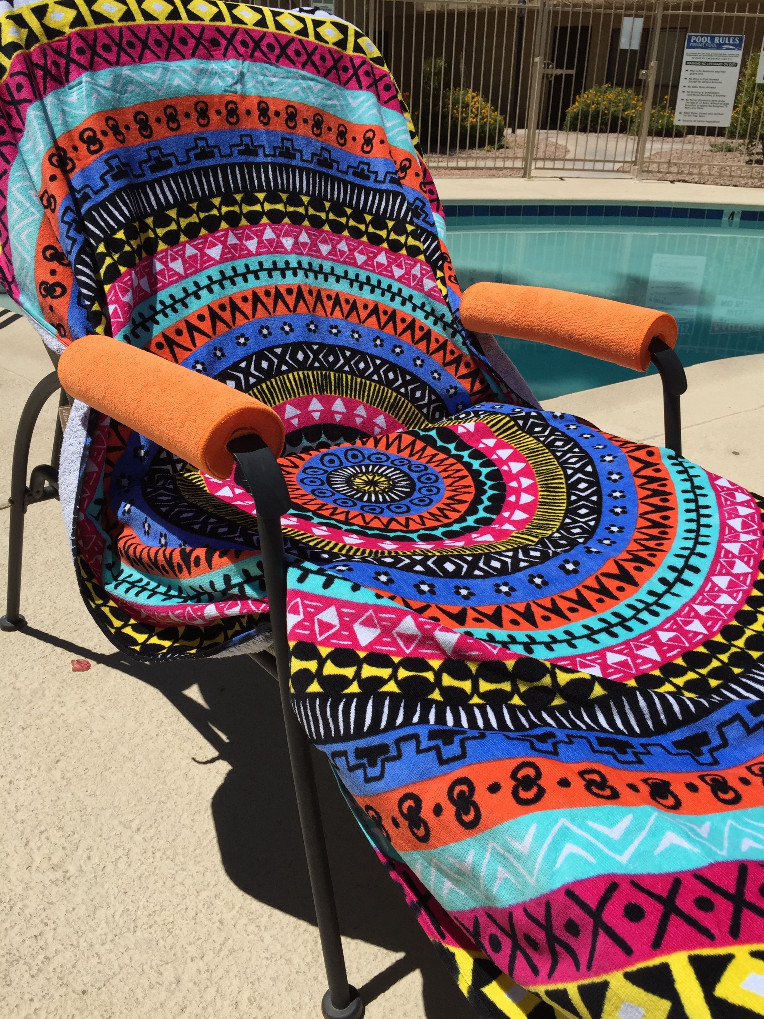 Super easy slip on design and soft micro fiber material, these splash friendly arm covers are a must have for every poolside chair with exposed arms.