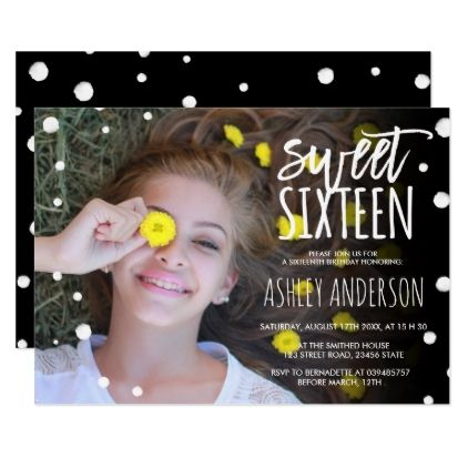 #Polka dots watercolor typography photo Sweet 16 Card - #sweet16 #invitations #sixteen #birthday #sweetsixteen #party #bday #birthdayparty