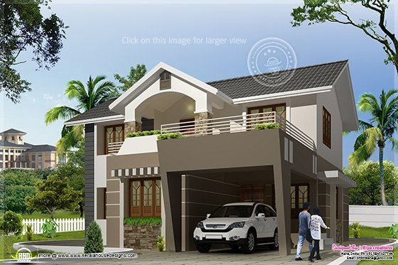 4 bedroom indian house with sloping roofs and open terrace for Kerala house front elevation models