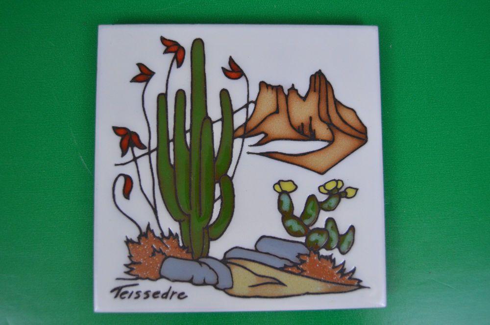 Cleo Teissedre Southwest Trivet Ceramic Tile Art Wall Cactus Mountain Desert Teissedredesignsinc Ceramic Tile Art Tile Art Art