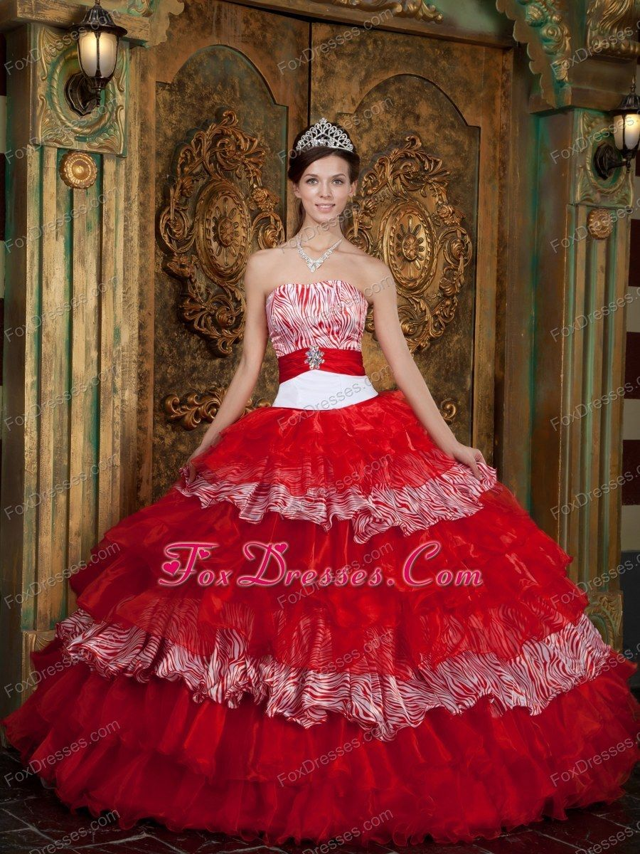 Red and zebra strapless quinceanera dress floorlength ruffle