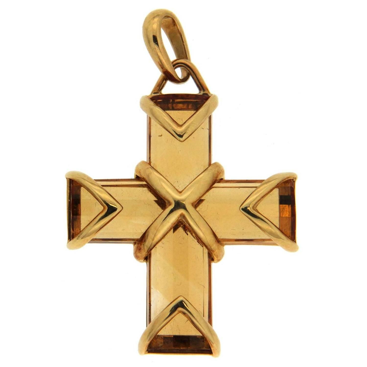 Citrine gold cross pendant drop necklace gold cross and pendants citrine cross pendant from a unique collection of vintage drop necklaces at https aloadofball Gallery