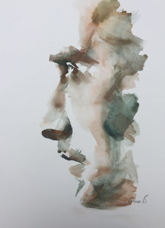 Portrait Xii Determination Watercolor Portrait Painting