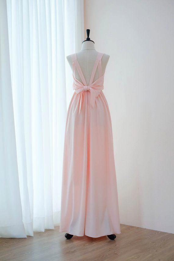 Erröten rosa kleid Rosa Tief kleid Brautjungfer ...