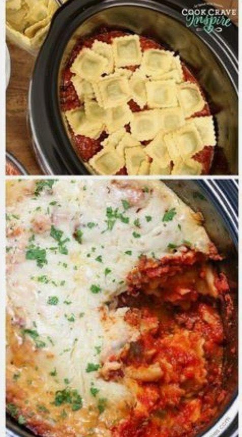 Lazy crock pot lasagna.